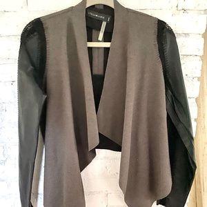 Stella & Jamie black leather drape jacket small